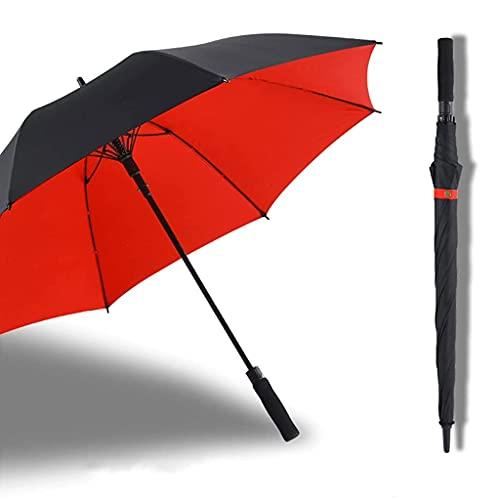 BaiJaC Paraguas automático, Grande49 Pulgadas, 24 Costillas, Capa Doble, 45'Stick Mango reforzan a Prueba de Viento, Golf Parasol Men & Womengift (Color : Red, Size : 49)