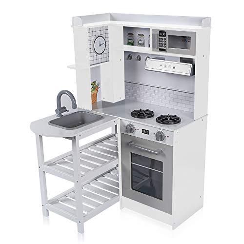 Baby Vivo Cocina de juguete de Madera con Luz y Sonidos Microondas Niños Infantil Horno y Estufa Lavabo Lavadora - Luis en Blanco