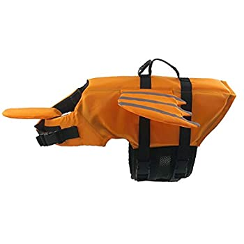 Pet Life Jacket Gilet de Sauvetage pour Chien Lifesaver Sécurité Gilet Réfléchissant Taille Réglable Dog Lifejacket pour Natation Surf Bateau de Chasse(L, Orange Gilet De Sauvetage pour Chien)