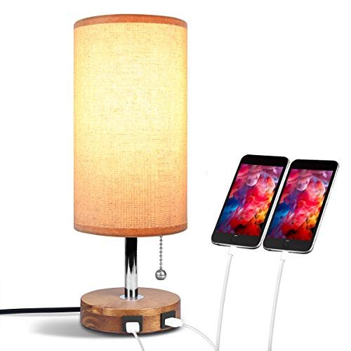 USB Bedside Table Lamp, Aooshine Bedside Lamp with Dual USB Quick...