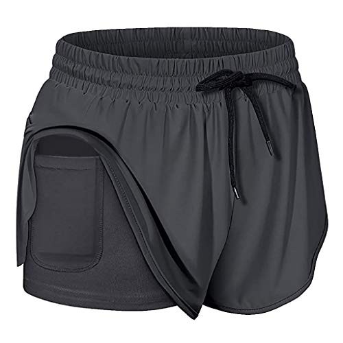 Yoga Shorts with Pockets for Women, Drawstring Elastic Wasit Sports Fitness Running Shorts with Liner Inner Pocket