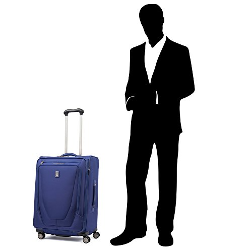 Travelpro Crew 11-Softside Expandable Luggage with Spinner Wheels, Indigo, Checked-Medium 25-Inch