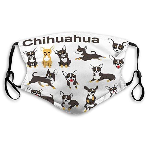wanglinbin11 Mundschutz für Küche Joggen Chihuahua Hund Action Happy Dog Chihuahua Hund von Face Covers