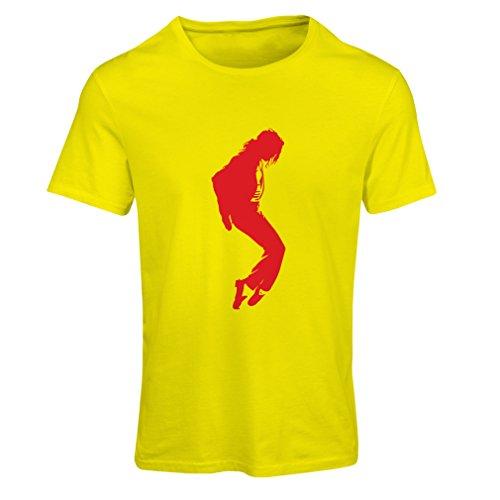 Camiseta Mujer Me Encanta MJ - Ropa de Club de Fans, Ropa de Concierto (Small Amarillo Rojo)