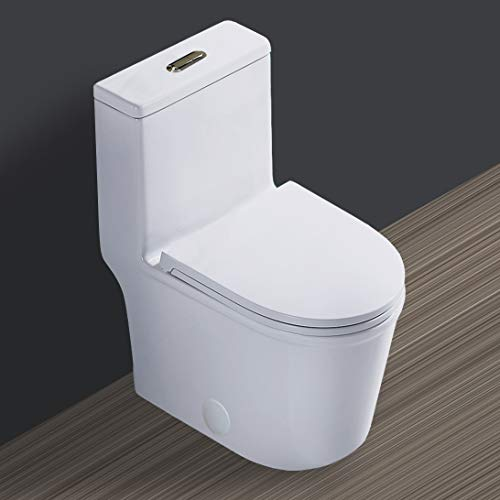 WinZo Compact One Piece Toilet with 22.8' Small Depth Modern Short Design Dual Flush for Tiny Mini Bathroom White