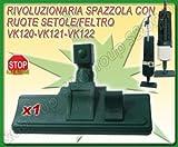 Sconosciuto RIVOLUZIONARIA SPAZZOLA CON RUOTE ASPIRAPOLVERE FOLLETTO VORWERK 120 121 122 GARANTITO DA S&G GROUP