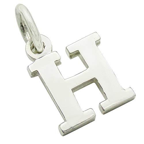 小さなアルファベットのチャーム (1) 「H」 ステンレスチェーンセット ゴシック体 ネックレス シルバー925 50cm