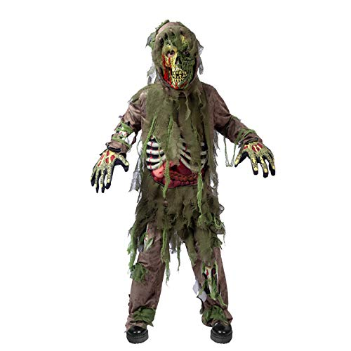 Swamp Deluxe Skeleton Living Dead Zombie Costume for Halloween Kids Monster Role-Playing (Small (5-7yr)) Green