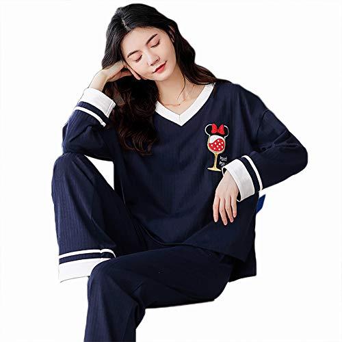 LASIMAO Set de Pijamas de Las señoras, Conjunto de Ropa de Dormir de algodón, Ropa de la casa Conjunto de Manga Larga Cómoda Ropa de Dormir Conjunto de Pijamas Simples de Ropa de Noche,Q,XL