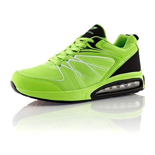 Fusskleidung® Damen Herren Sportschuhe Dämpfung Sneaker leichte Laufschuhe Grün Schwarz EU 41