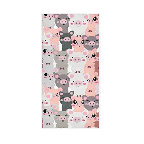 LUCKYEAH - Toallas de mano de algodón con diseño de cerdo animal sin costuras para niñas, mujeres, niños, toallas de mano suaves y absorbentes para el hogar, hotel, piscina, gimnasio, 76 x 38 cm