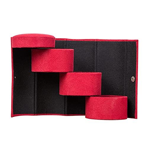 Fiacvrs 3 capas Mini caja de almacenamiento de joyería de maquillaje Exhibición de joyería portátil para viaje de negocios Elegante Terciopelo portátil práctico Roll Up cilindro forma regalo (rojo)