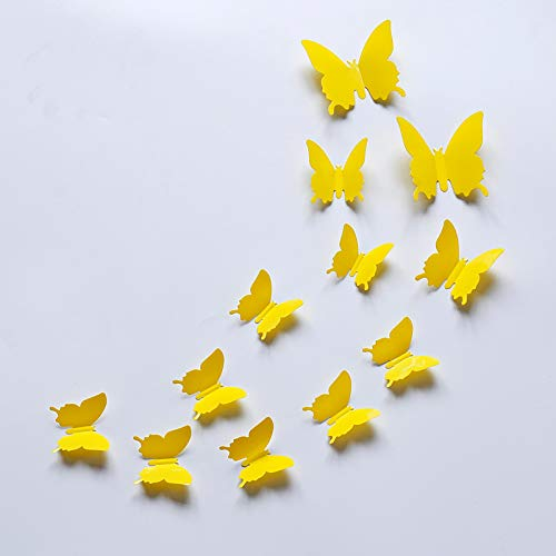 Jiaojie 12pcs 3D Butterfly Removable Mural Wall Stickers PVC 3D Simulation Butterfly Mirror Sticker