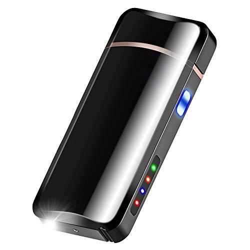 プラズマ ライター 電子ライター USBライター 懐中電灯 充電 応急照明 防風 防塵 小型 軽量 記念日 誕生日 プレゼント (ブラック2)
