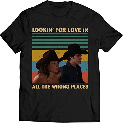 Lookin' for Love in All The Wrong Places Vintage Shirt Urban Cowboy Lovers Movie T Shirt Men T-Shirt (5XL, Black)
