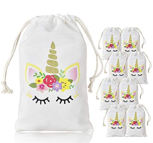 Kreatwow Sacs de Cadeau Motif de Licorne Décoration de Fête d'anniversaire pour Enfatnts, Lot de 10 Sacs à Cordon 5 x 8