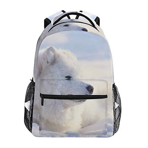 Mochila escolar acostada perro blanco mochilas casual viaje básico estudiante libro bolsa para niños niñas niños