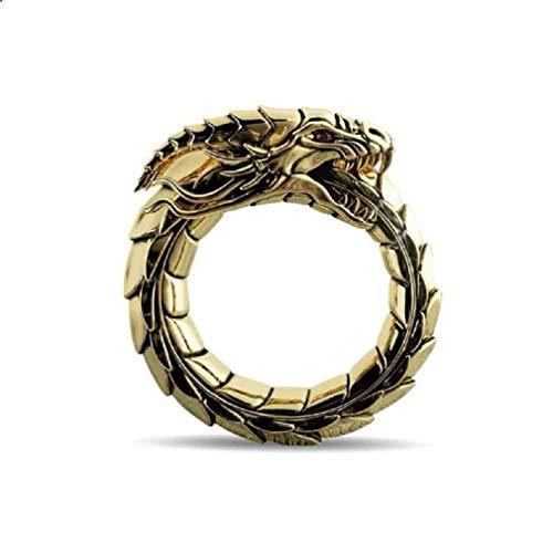 Dragon Ring for Men, Norse Viking Dragon Head Ring, Vintage Dragon Totem Amulet Ring, Hip Hop Biker Ring, Punk Animal Dragon Jewelry for Men Boys (Gold, 7)