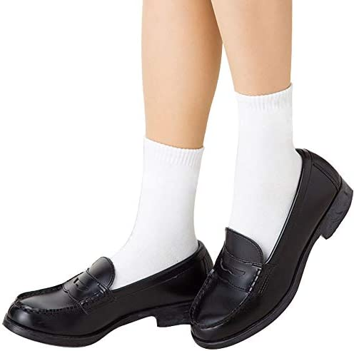 COTTON DAY 6 Pairs Boys Girls School Dress Socks White Crew Socks L Shoe size 13 5 3 5 product image