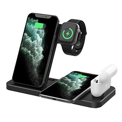 LAHappy Cargador Inalámbrico Rápido, 4 en 1 Cargador de inducción Qi 10W para Apple Watch Airpods, iPhone 12 Mini/12 Pro Max/11/Xs MAX/XR/X/8 Plus, Samsung S20/S10+