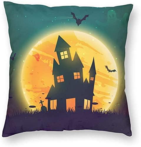 Cozy Throw Pillow Cover Halloween Scary Night Funda de Almohada Cuadrada Decorativa Moon Castle y The Bat Throw Funda de cojín para Dormitorio, Sala de Estar, sofá, sofá y Cama, 18 x 18 pulgadas-18 x