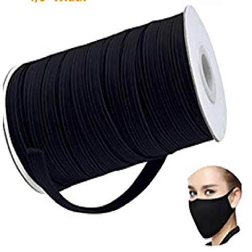 109 Yards Length 1/4 Inch Width Braided Elastic Band Black Elastic Cord Heavy Stretch High Elasticity Knit Elastic Band for Sewing Crafts DIY, Face Cover, Bedspread, Cuff