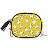 QMIN Bolsa cruzada deportiva de béisbol con patrón de garabatos sin costuras, bolso pequeño, bolso de mano de piel sintética con correa de cadena, borlas para mujeres y niñas