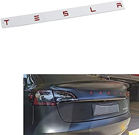 Shenwinfy for Tesla Tailgate Insert Letters Rear Emblems, 3M Adhesive Backing, Compatible for Tesla Model 3/S/X/Y Series (Matte Black)