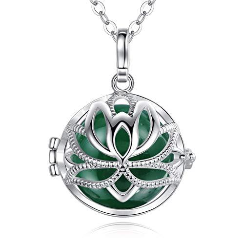 EUDORA Harmony Ball Lotus Anhänger, Bola Klangkugel Schwangerschaft, Engel Anrufer Halskette Schmuck Geschenk für Mädchen Mutter Schwester Tochter Frauen Lehrer, (76,2cm, 20mm)