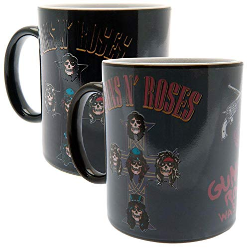 Guns N' Roses - Taza de cerámica con efecto térmico (9 x 8cm) (Negro