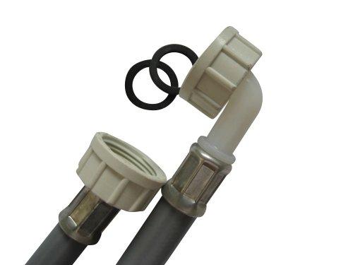 Waschmaschinenschlauch, 3/4'ÜM und 3/4'ÜM mit 90°Bogen, 300cm lang, PVC Zulaufschlauch | einfacher Anschluss!