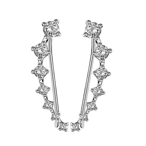 Silber CZ Diamant Ohr Kletterer minimalistischen Ohr Crawler Ohrringe Silber Ohr Pins Kristall zierliche Earcuffs zierliche gekrümmte Linie Ohrringe Crawler(Silber)