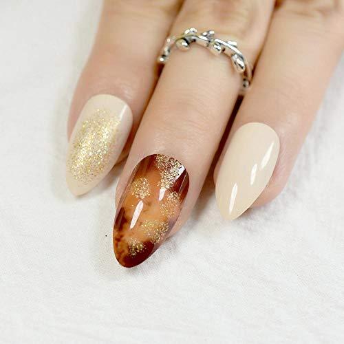 24 szt.Brązowy wzór marmuru fałszywe sztuczne paznokcie Beżowy ostry szpilki złota dama nosi fałszywe tipsy