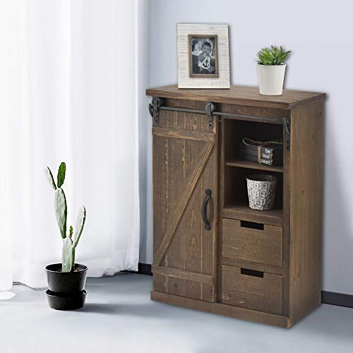 Bonnlo 32' H Rustic Storage Cabinet with Sliding Barn Doors Hardware and 2 Drawers, Farmhouse Buffet Entryway End Table Console Cabinet Vintage Furniture (No Need Assembly)
