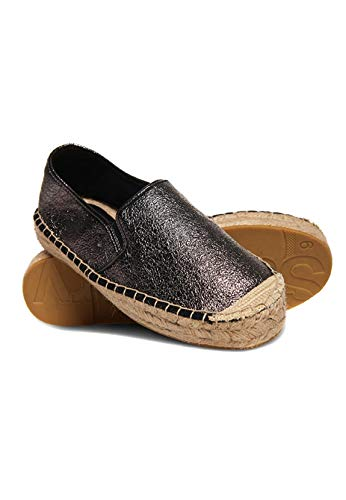 Superdry Damen Polly Flatform Espadrilles, Grau (Pewter Crackle Oj1), 40 EU
