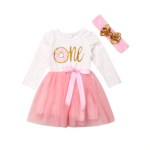 Newborn Baby Girls Pink Striped Tutu Dress First Birthday Skirt Outfits Casual Donut Print Girls Clothes Headband 2Pcs Set (ONE Long-Sleeve, 12-18)