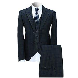 WEEN CHARM(ウィンチャーム)スーツ メンズ スリム スリーピースセットアップ カジュアル ビジネス グリーンチェック l