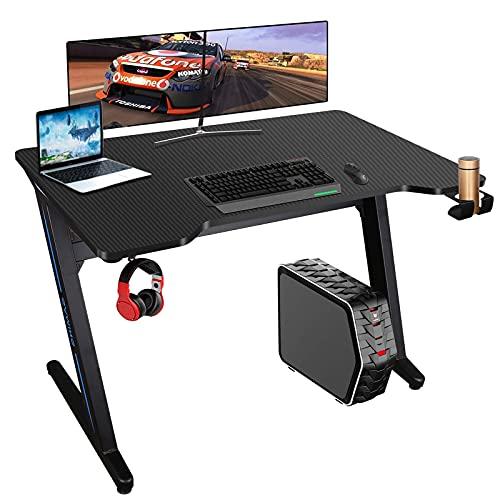 Mesa de Juegos para computadora 100x60cm Mesa Gaming Ergonómica Mesa Escritorio para PC Gaming Desk Tablas con Luces LED, Alfombrilla de ratón, Portavasos y Gancho para Auriculares (Black)