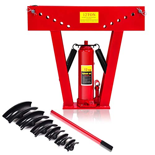 Goplus 12 Ton Heavy Duty Hydraulic Tube Bender 180 Degree Tubing Metal Steel Iron Exhaust Pipe Bending W/ 6 Dies (RED)