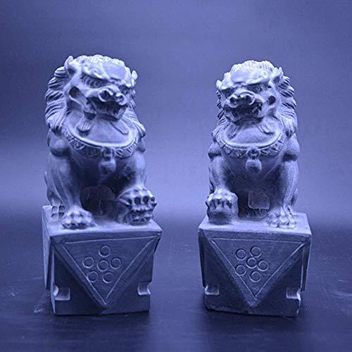 XXSHN Lebendausrüstung Großes Pekinger Löwenpaar Fu FOO-Hundestatuen (EIN Paar) Stein Chinesisches Feng Shui-Dekor Wohlstand Zubehör Figur Haus- und Bürogarten Skulptur H20cm / 7.9in