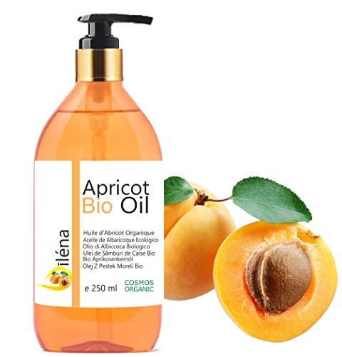 Oïléna Aprikosenkernöl Organic NATIV 250 ml - 100% reines Aprikosenöl BIO Öl - Apothekerflasche mit Pumpe kaltgepresst desodoriert