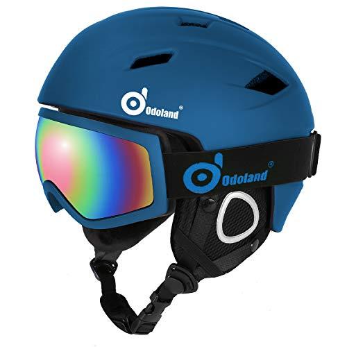 Odoland Skihelm Skibrille Set Snowboardhelm mit Snowboardbrille für Erwachsene und Kinder Schneebrille UV 400 Schutz Windwiderstand Snowboard Brille zum Skifahren und Bergsteigen Dunkelblau S-50-53cm