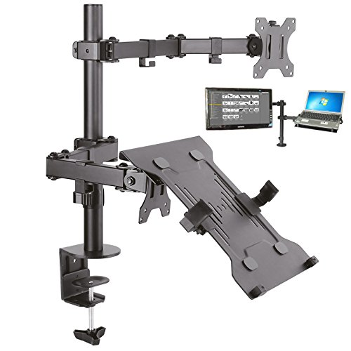 DRALL INSTRUMENTS Tischhalterung für Monitore und Bildschirme mit Laptop Notebook Netbook Ablage Auflage Adapterplatte Rack Modell: LT15-IP27BA