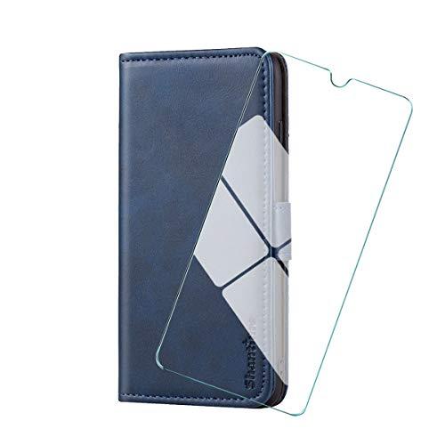 """WenJie Funda para Sony Xperia L4(6.2"""")+ Vidrio Templado, Funda Libro Sony Xperia L4, Funda Móvil Sony Xperia L4 Magnético Carcasa para Sony Xperia L4 Funda con Tapa—Azul"""