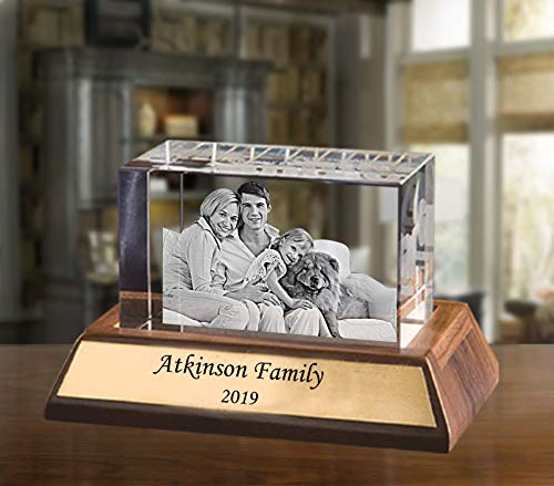 Custom Engraved Photo Glass Block, Personalized Crystal Paperweight as a Birthday Gift, Wedding Anniversary, Retirement Gift or Couples Gift