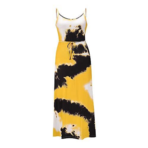 yanghuakeshangmaoyouxiangong Sommer Mehrfarbige HosenträGer Mit Batikdruck In Der Mitte Der Taille, äRmelloses Kleid In üBergrößE
