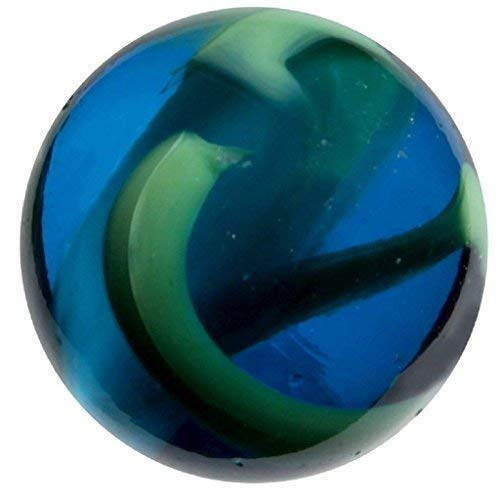 Big Game Toys~Large 2' (50mm) Ocean Tide Toe Breaker Translucent Blue/Green Glass Marble w/Stand Shooter Swirl
