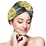 UXZTU Secador de pelo Antique Style Golden Sun Crescent Moon And Stars Hair Towel Wrap Turban Microfiber Quick Dry Hair Turban Wrap - Super Absorbent, Quick Magic Dryer, Dry Hair Hat, Wrapped Bath C