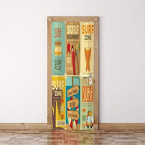 IKPHQF 3D Door Art Creative Poster Magazine 77X200cm Removable Door Stickers, Pvc Self-Adhesive Waterproof Door Murals, Children Kids Bedroom Bathroom Kitchen Interior Doors Decoration Stickers