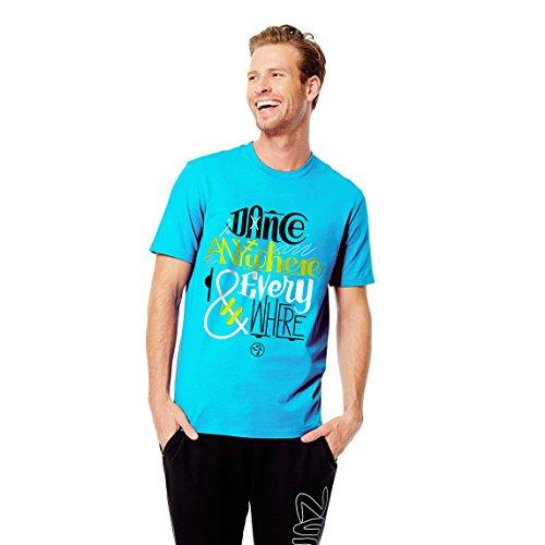 Zumba Fitness Dance Anywhere and Everywhere Camiseta, Azul (Bangin Blue), Unisex Adulto, Dance Anywhere and Everywhere, Bangin Blue